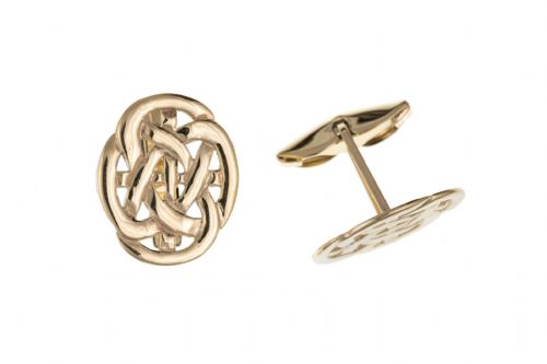 Yellow Gold Celtic Design Patterned Cufflinks